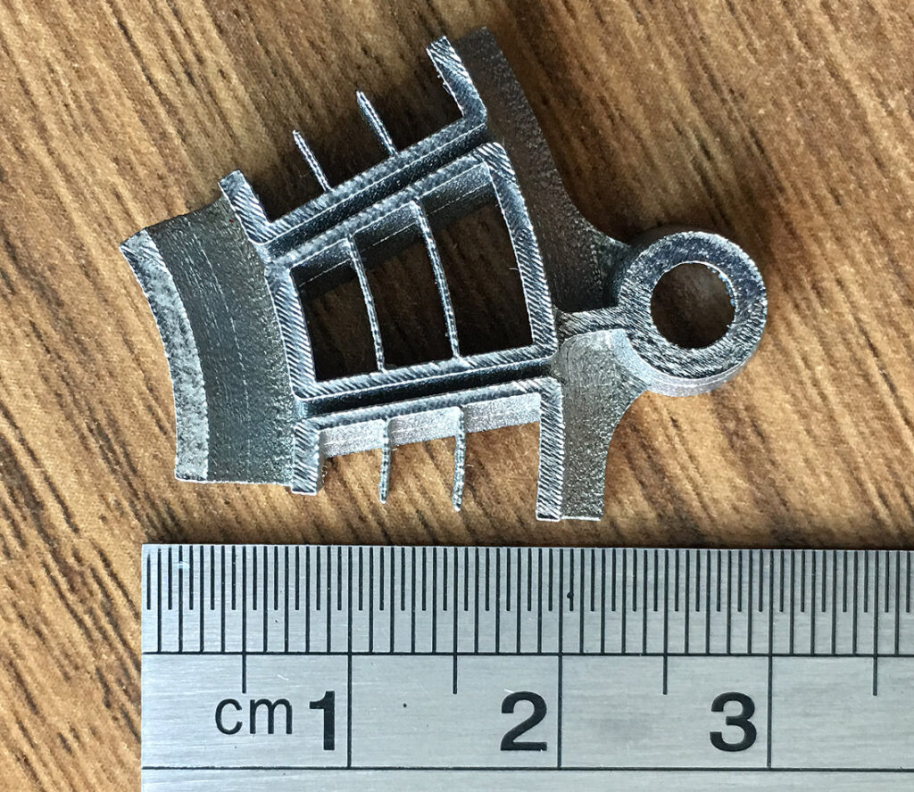 Swirler, cut part, Inconel 625